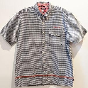 Tommy Jeans navy blue gingham button down shirt